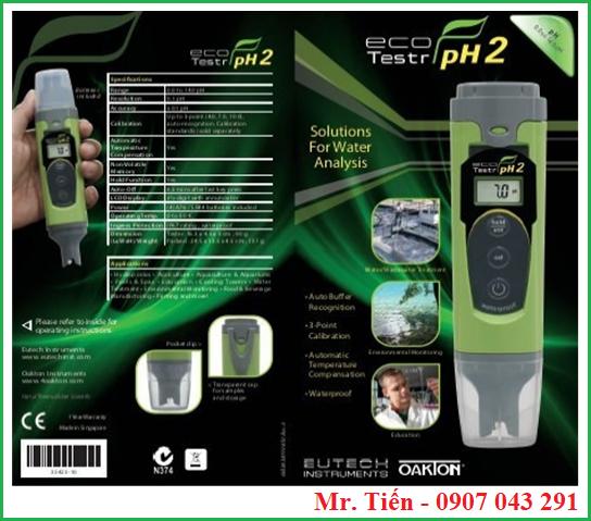 Bút đo pH nước nuôi tôm cá Ecotestr pH2 hãng Eutech