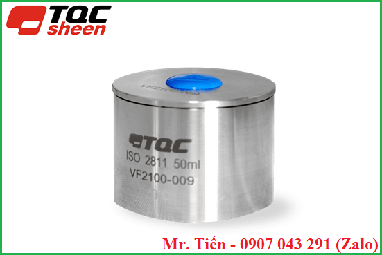 Có lỗ thoát khí và mẫu dư thừa trên nắp cốc đo khối lượng riêng hãng TQC Sheen
