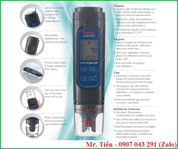 Máy đo độ pH nước Expert pH hãng Eutech Thermo Scientific