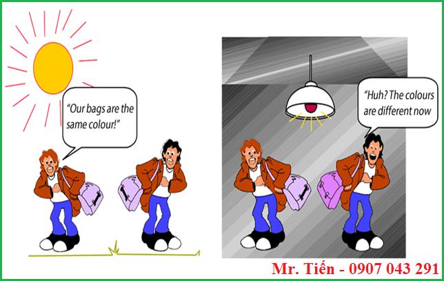 Sự thay đổi màu sắc do hiện tượng Metamerism